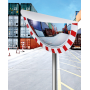Miroirs industriel casquette - cadre rouge/blanc - vision Grand angle  - 3